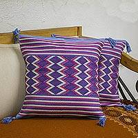 Cotton cushion covers, 'Blue Maya Geometry' (pair) - 2 Backstrap Loom Handwoven Blue Cotton Cushion Covers