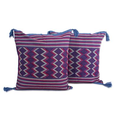 2 Backstrap Loom Handwoven Blue Cotton Cushion Covers