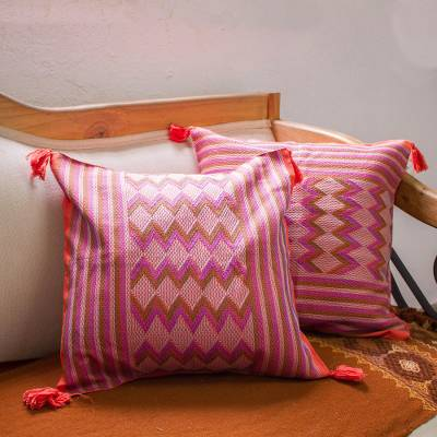 Cotton cushion covers, 'Vermilion Maya Geometry' (pair) - Handwoven Vermilion Cotton Cushion Covers (Pair)