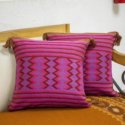 Cotton cushion covers, 'Chestnut Maya Geometry' (pair) - 2 Handwoven Cotton Cushion Covers in Brown Purple Pink