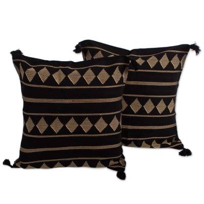 2 Black and Beige Handwoven Embroidered Cushion Covers