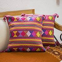 Cotton cushion covers, 'Diamonds on Wine' (pair) - Mexico Handwoven Embroidered Cushion Covers (Pair)