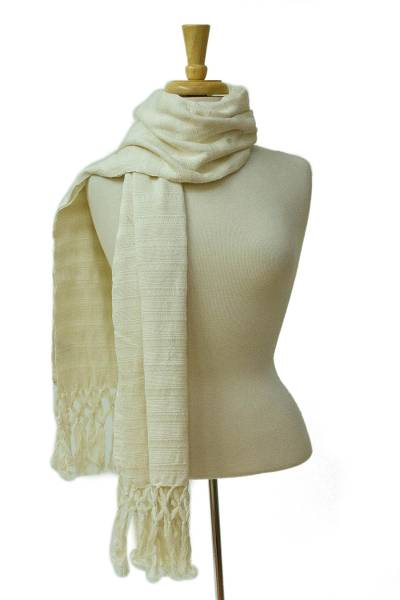 Cotton scarf, 'Luscious in Ivory' - Backstrap Loom Handwoven Ivory Cotton Scarf from Mexico
