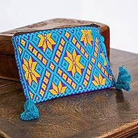 Cotton coin purse, 'Geometric Burst' - Amber and Teal Cotton Coin Purse from Mexico