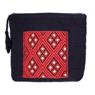 Scarlet and Onyx Cotton Cosmetic Bag from Mexico