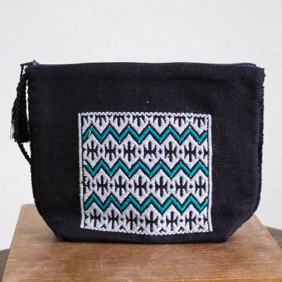 Cotton cosmetic bag, 'Viridian Zigzags' - Zigzag Pattern Cotton Cosmetic Bag from Mexico