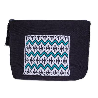 Zigzag Pattern Cotton Cosmetic Bag from Mexico