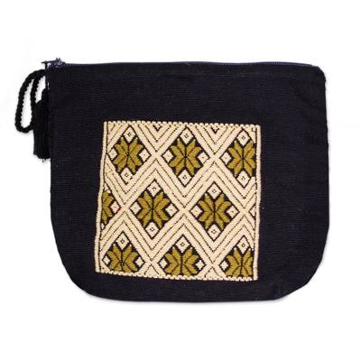 Geometric Cotton Cosmetic Bag in Beige and Onyx from Mexico