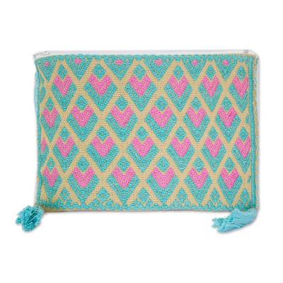 Geometric Pastel Cotton Cosmetic Bag from Mexico