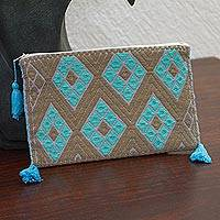 Cotton cosmetic bag, 'Turquoise Geometry' - Turquoise and Umber Cotton Cosmetic Bag from Mexico
