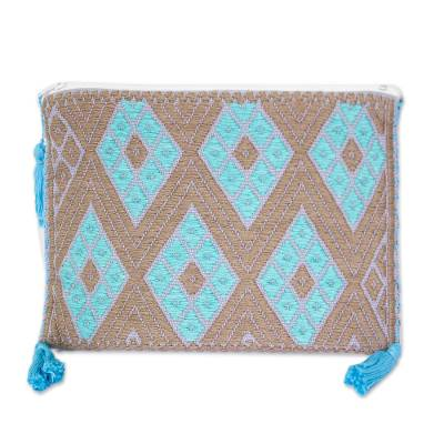 Turquoise and Umber Cotton Cosmetic Bag from Mexico