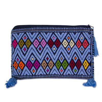 Sky Blue and Multicolored Cotton Cosmetic Bag from Mexico