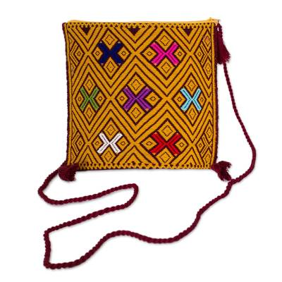 Amber and Multicolored Cotton Sling from Mexico
