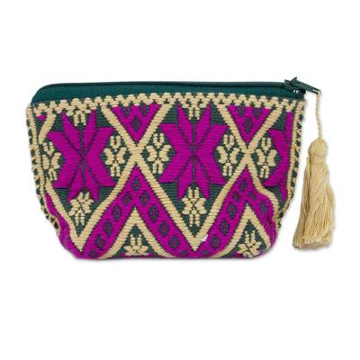 Handwoven Zigzag Pattern Cotton Coin Purse from Mexico