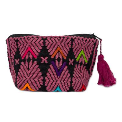 Mauve and Onyx Cotton Coin Purse from Mexico