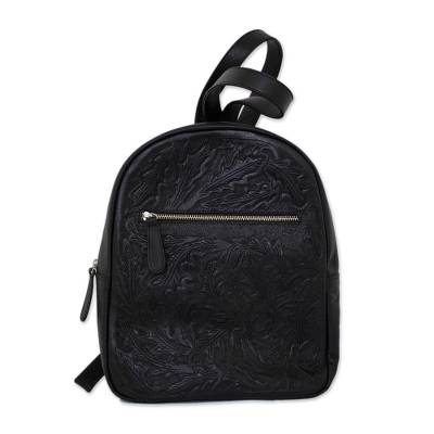 Floral Pattern Leather Backpack in Onyx from Mexico