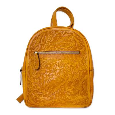 Floral Pattern Leather Backpack in Saffron from Mexico
