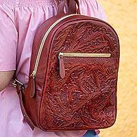 Leather backpack, 'Floral Artisan in Redwood' - Floral Pattern Leather Backpack in Redwood from Mexico