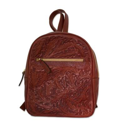 Floral Pattern Leather Backpack in Redwood from Mexico
