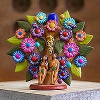 Ceramic sculpture, 'Garden of Eden Tree' - Ceramic Garden of Eden Tree of Life Sculpture from Mexico