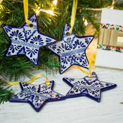 Ceramic ornaments, 'Artisanal Stars' (set of 4) - Blue Ceramic Star Ornaments from Mexico (Set of 4)