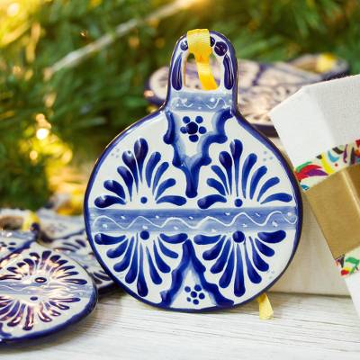 Ceramic ornaments, 'Cool Baubles' (set of 4) - Blue Talavera-Style Ceramic Ornaments from Mexico (Set of 4)