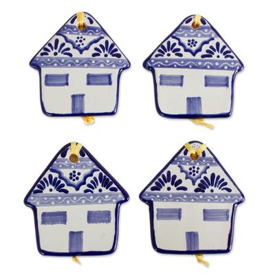 Blue and White Talavera-Style Ceramic Ornaments (Set of 4)