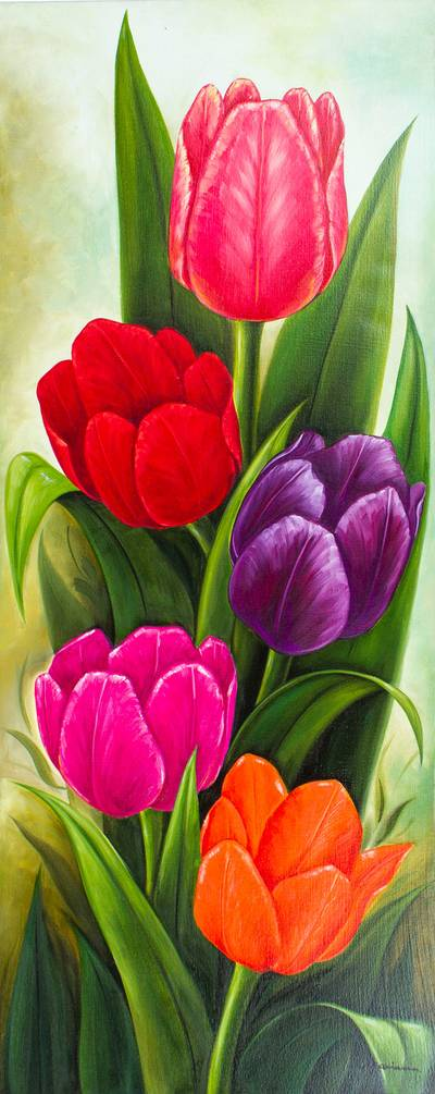 'Five Tulips' - Signed Painting of Five Tulips from Mexico