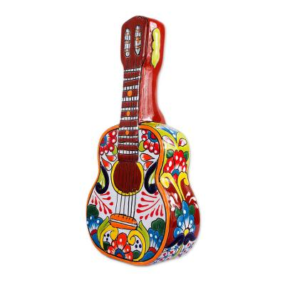 Ceramic sculpture, 'Talavera Guitar' - Talavera-Style Ceramic Guitar Sculpture from Mexico