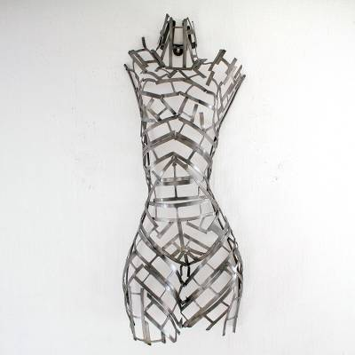 Upcycled metal auto part wall sculpture, 'Androgynous Form' - Modern Human Form Upcycled Metal Auto Part Wall Sculpture