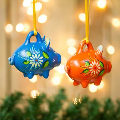 Ceramic ornaments, 'Orange and Blue Pigs' (pair) - Blue and Orange Ceramic Pig Ornaments from Mexico (Pair)