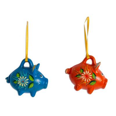 Blue and Orange Ceramic Pig Ornaments from Mexico (Pair)