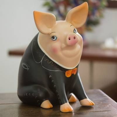 Ceramic piggy bank, Mariachi Pig (9.5 inch)