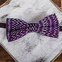 Cotton bow tie, 'Aubergine Charm' - Handwoven Cotton Bow Tie with Aubergine Stripes from Mexico