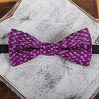 Cotton bow tie, 'Fuchsia Charm' - Handwoven Cotton Bow Tie with Fuchsia Stripes from Mexico