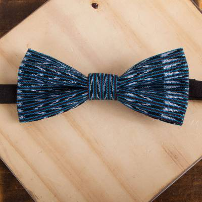 Cotton bow tie, 'Intricate Charm' - Colorful Cotton Bow Tie Crafted in Mexico