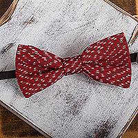 Cotton bow tie, 'Crimson Charm' - Handwoven Cotton Bow Tie with Crimson Stripes from Mexico