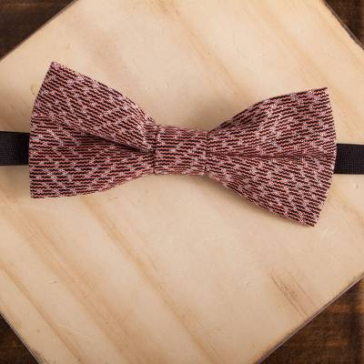 Cotton bow tie, 'Dapper Peach' - Handwoven Cotton Bow Tie with Peach Stripes from Mexico