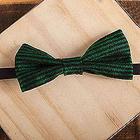 Cotton bow tie, 'Charming Stripes' - Handwoven Cotton Bow Tie with Viridian Stripes from Mexico