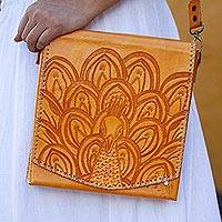 Leather handbag, 'Peacock in the Sun' - Peacock Pattern Saffron Leather Handbag from Mexico