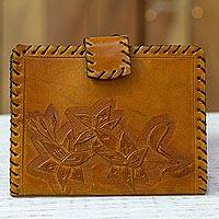 Leather passport wallet, 'Sunrise Flowers' - Floral Burnt Sienna Leather Passport Wallet from Mexico