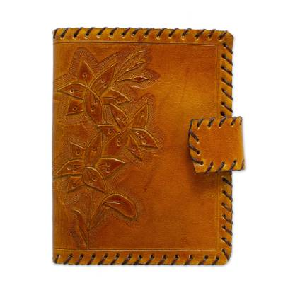 Floral Burnt Sienna Leather Passport Wallet from Mexico