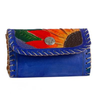 Floral Leather Coin Purse in Royal Blue from Mexico