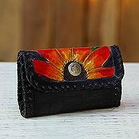 Leather coin purse, 'Flower Night' - Floral Leather Coin Purse in Black from Mexico