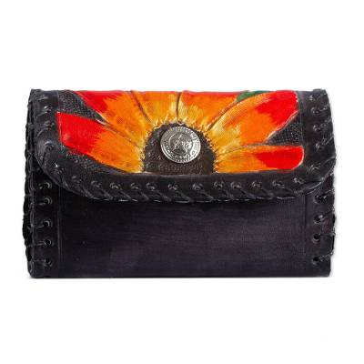 Floral Leather Coin Purse in Black from Mexico