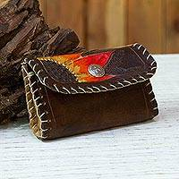 Leather coin purse, 'Autumn Afternoon' - Floral Leather Coin Purse in Chestnut from Mexico