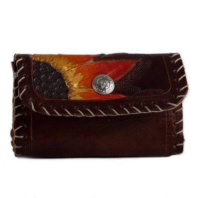 Floral Leather Coin Purse in Chestnut from Mexico