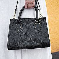 Leather handbag, 'Mod Floral' - Floral Pattern Leather Handbag in Black from Mexico