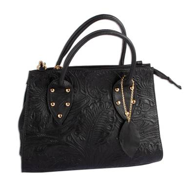 Floral Pattern Leather Handbag in Black from Mexico