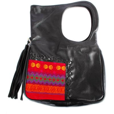Onyx Leather Handle Handbag with Cotton Accent from Mexico